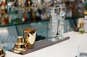 image of bartender  - Bartender tools on bar counter - JPG