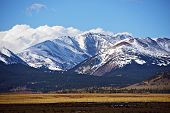 stock photo of grassland  - Snowy Colorado Mountains Near Fairplay Colorado United States - JPG