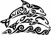stock photo of dolphins  - Illustration of an isolated dolphin for tattoo - JPG