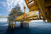 stock photo of pollution  - Oil and gas platform in offshore or Offshore construction - JPG