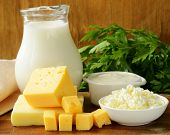 stock photo of curd  - still life of dairy products (milk, sour cream, cheese, cottage cheese)