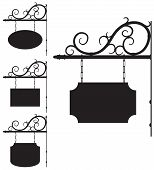 image of ironworker  - Vector wrought iron outline signs for old - JPG