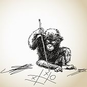 Sketch of baby chimpanzee playing tic tac toe Vector illustration