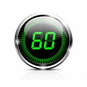 stock photo of chronometer  - Electronic brilliant timer 60 seconds - JPG