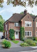 image of quaint  - Front of a British home in a London suburb of England UK - JPG