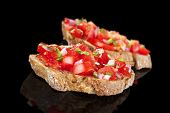 foto of canapes  - Delicious bruschetta background - JPG
