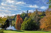 Stourhead lake in the autumn