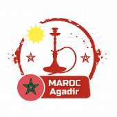 stock photo of hookah  - stamp Agadir - JPG