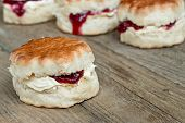 picture of devonshire  - Cornish Cream Tea of scones filled with clotted cream and strawberry jam often served with hot beverages - JPG