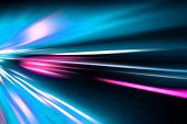 pic of acceleration  - abstract acceleration speed motion on night road - JPG