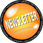 stock photo of newsletter  - a illustration of a yellow newsletter button - JPG