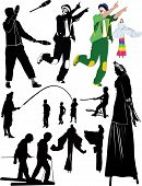 foto of juggler  - juggler clown people on stilts childrens games - JPG