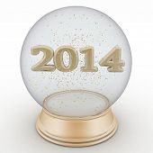 2014 year is in a transparent ball. Isolated 3D image