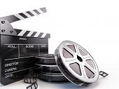 stock photo of clapper board  - Film Reels and Clapper board - JPG