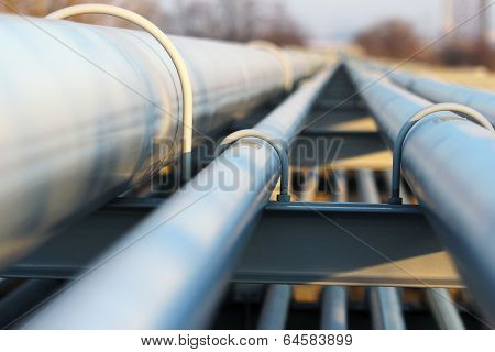 Detail Of Steel Light Pipeline In Oil Refinery poster