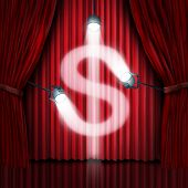 stock photo of glitz  - Business presentation or company sales pitch to find investors in a new financial venture as a stage with red silk curtains or drapes with shinning spot lights illuminating in the shape of a dollar sign as a metaphor for raising funds in front of an audie - JPG