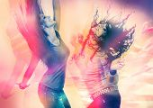 stock photo of sassy  - arty picture of two girls dancing - JPG