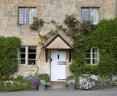 image of english cottage garden  - Pretty Cotswold cottage with spring - JPG