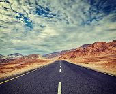 image of manali-leh road  - Vintage retro effect filtered hipster style travel image of Travel forward concept background  - JPG