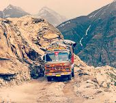 image of lorries  - Vintage retro effect filtered hipster style travel image of Manali - JPG