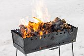 stock photo of brazier  - Fire in brazier at winter outdoor - JPG