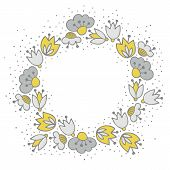 foto of centerpiece  - Messy different colorful yellow gray flowers in round wreath on white background with little dots retro botanical centerpiece illustration with place for your text - JPG