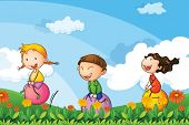 picture of bouncing  - Illustration of the kids playing with the bouncing balloons - JPG