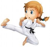 stock photo of karate-do  - Illustration of a female doing karate on a white background - JPG
