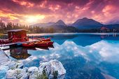 pic of mountain-high  - Peaceful mountain lake in National Park High Tatra - JPG