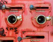 stock photo of vacuum pump  - Old fire truck equipment with fading color - JPG