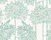 stock photo of chrysanthemum  - Seamless floral pattern with hand drawn chrysanthemum - JPG