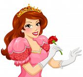 image of princess crown  - beautiful princess with brown hair holding a red rose - JPG