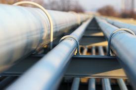 picture of pipeline  - detail of steel light pipeline in oil refinery - JPG