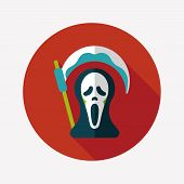 stock photo of grim-reaper  - Grim Reaper Flat Icon With Long Shadow - JPG