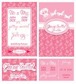 image of carriage horse  - Wedding invitation cards with floral elements calligraphic handwritten text carriage and horse - JPG
