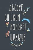 image of grammar  - decorative vector vintage alphabet and floral elements - JPG