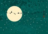 pic of night-blooming  - Night landscape with the moon and a flock of birds with Chinese characters Happiness - JPG