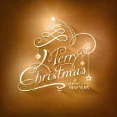 image of embellish  - Christmas card in golden brown shades with light effects - JPG
