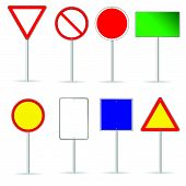 picture of octagon shape  - blank traffic sign set two vector illustration - JPG
