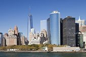 picture of freedom tower  - The New York City skyline at afternoon with the Freedom Tower in the background - JPG