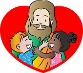 stock photo of jesus  - vector drawing cartoon Jesus hug two kids - JPG