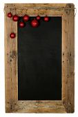 image of wooden pallet  - Chalkboard christmas restaurant menu board reclaimed pallet wooden frame and hanging xmas balls isolated on white with copy space - JPG