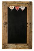 pic of wooden pallet  - Chalkboard christmas restaurant menu board reclaimed pallet wooden frame and shabby chic tin heart decoration isolated on white with copy space - JPG