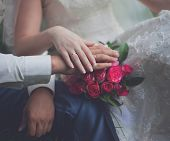 foto of country girl  - Vintage photo bride and groom hands pink gentle wedding bouquet country rustic  - JPG