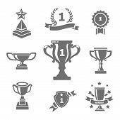 foto of trophy  - Trophy and awards icons isolated black on white - JPG