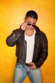 foto of bomber jacket  - Handsome Hispanic Man Wearing Vintage Pilot Bomber Jacket - JPG