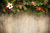 pic of wooden horse  - vintage christmas decoration over old wooden background - JPG
