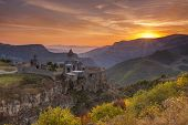 image of armenia  - The ancient monastery in the setting sun - JPG