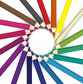 stock photo of color wheel  - Color pencils in arrange in color wheel colors on white background - JPG