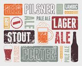 stock photo of drawing beer  - Typographic retro grunge beer poster - JPG